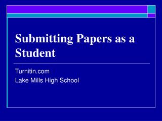 Submitting Papers as a Student