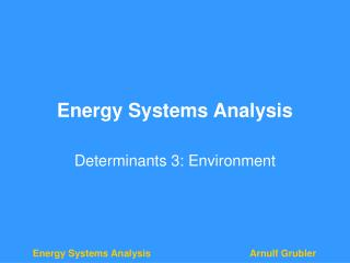 Energy Systems Analysis