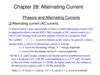 Chapter 28: Alternating Current