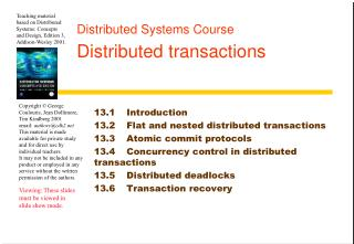 Distributed Systems Course Distributed transactions