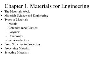 Chapter 1. Materials for Engineering