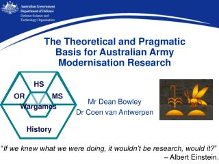 The Theoretical and Pragmatic Basis for Australian Army Modernisation Research