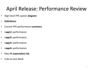 April Release: Performance Review
