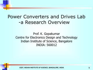 Power Converters and Drives Lab -a Research Overview