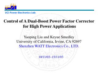 Control of A Dual-Boost Power Factor Corrector  for High Power Applications