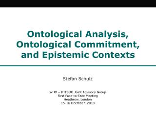 Ontological Analysis, OntologicalCommitment, and Epistemic Contexts