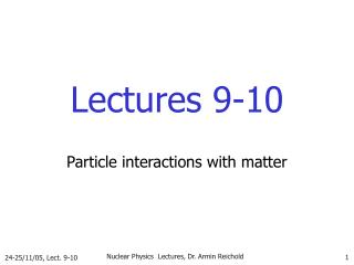 Lectures 9-10