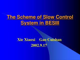 The Scheme of Slow Control System in BESIII