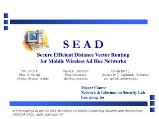 S E A D Secure Efficient Distance Vector Routing for Mobile Wireless Ad Hoc Networks