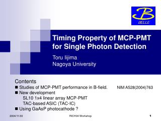 Timing Property of MCP-PMT  for Single Photon Detection