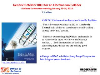 Generic Detector R&D for an Electron Ion Collider Advisory Committee  meeting January 13-14, 2014