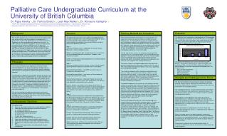Palliative Care Undergraduate Curriculum at the University of British Columbia