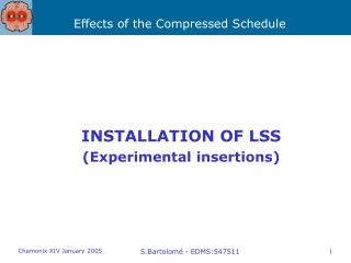 INSTALLATION OF LSS (Experimental insertions)