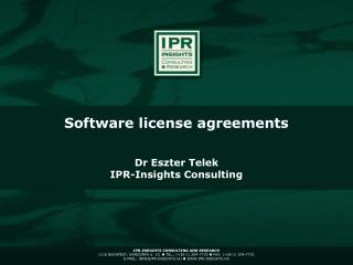 Dr Eszter Telek IPR-Insights Consulting