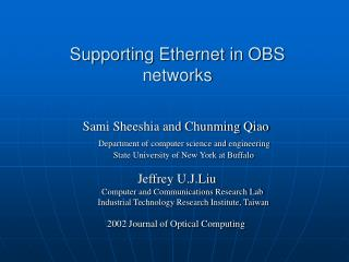 Supporting Ethernet in OBS networks