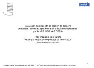 Evaluation du dispositif de soutien de branche