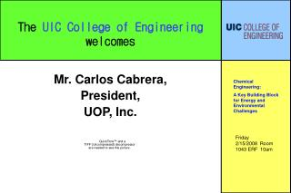 The  UIC College of Engineering welcomes