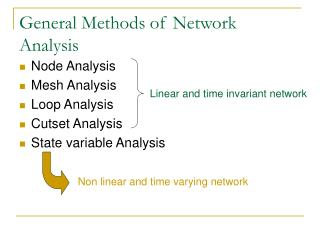 General Methods of Network Analysis