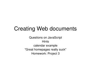 Creating Web documents