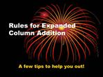 Rules for Expanded Column Addition
