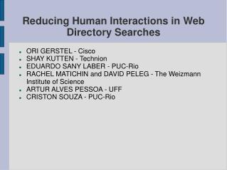 Reducing Human Interactions in Web Directory Searches