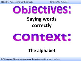 Objective: Pronouncing words correctly Context: The Alphabet