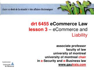drt 6455  eCommerce Law lesson 3  – eCommerce and  Liability