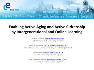 Enabling Active Aging and Active Citizenship by Intergenerational and Online Learning