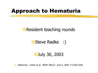 Approach to Hematuria