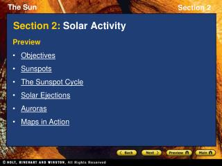 Section 2:  Solar Activity