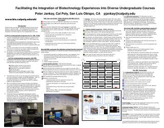 Facilitating the Integration of Biotechnology Experiences into Diverse Undergraduate Courses