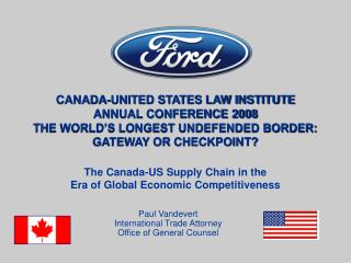 Paul Vandevert International Trade Attorney Office of General Counsel
