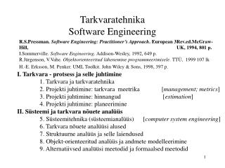 Tarkvaratehnika Software Engineering