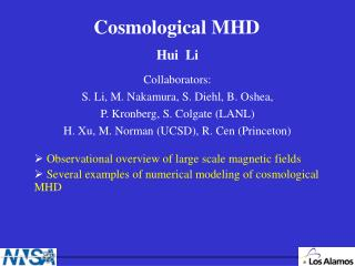 Cosmological MHD