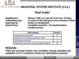 INDUSTRIAL SYSTEMS INSTITUTE (I.S.I.)