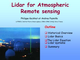 Lidar for Atmospheric Remote sensing
