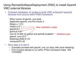 Using RemoteSoftwareDeployment (RSD) to install Geant4 VMC external libraries