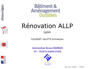 Intervention Bruno GEORGES ITF – 73230 St ALBAN LEYSSE