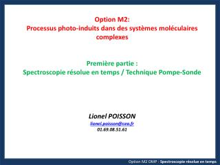 Option M2 OMP :  Spectroscopie  résolue en  temps