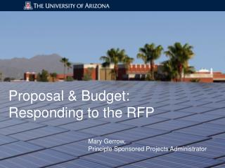 Proposal & Budget:  Responding to the RFP
