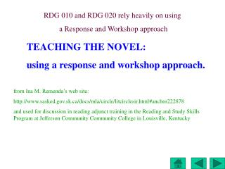 TEACHING THE NOVEL:  using a response and workshop approach.
