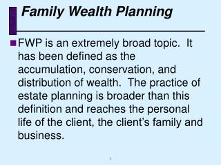 Family Wealth Planning