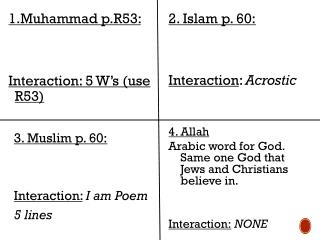 1 .Muhammad p.R53:  Interaction: 5 W's (use R53)