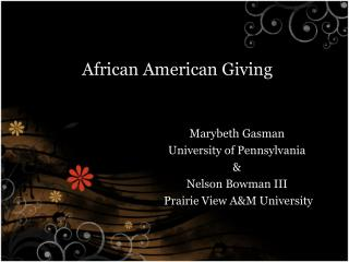 African American Giving