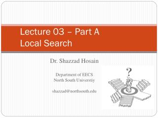 Lecture 03 – Part A Local Search