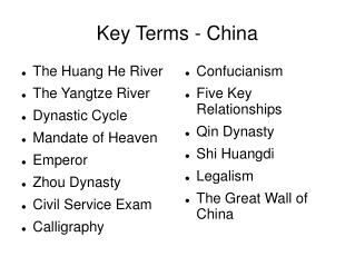Key Terms - China