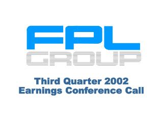 Third Quarter 2002 Earnings Conference Call