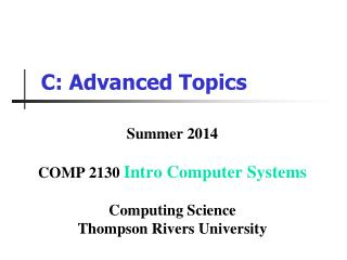 C: Advanced Topics