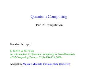 Quantum Computing  Part 2: Computation