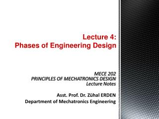 Lecture 4:  Phases of Engineering Design